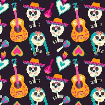 Día de muertos muster im flachen design