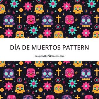 Día de Muertos-Muster in der flachen Art