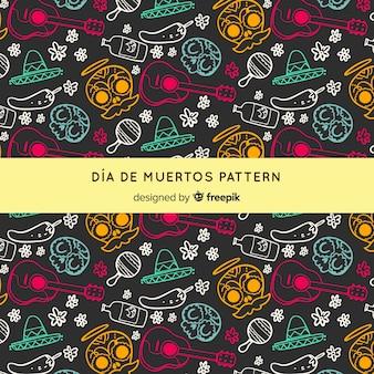 Día de Muertos-Muster mit Hand gezeichneten Elementen