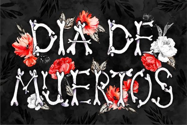 Dia de muertos schriftzug mit knochenhintergrund