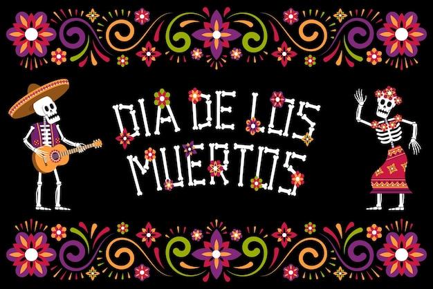 Dia de muertos tag des toten zierblumenrahmens mexikanisches halloween-poster mit skelett
