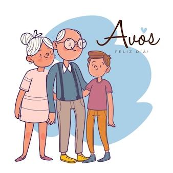 Dia dos avós illustrationskonzept