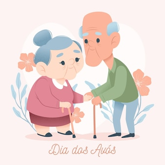 Dia dos avós illustrationskonzept