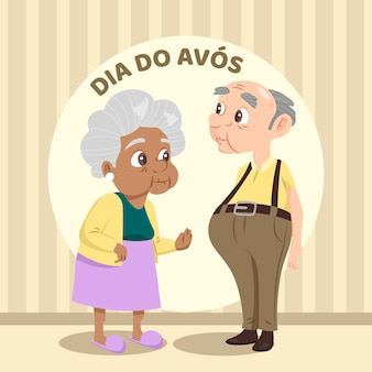 Dia dos avós illustrationsstil