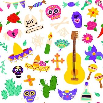 Dia los muertos nahtloses muster. vektor-illustration des mexikanischen feiertags-hintergrundes.