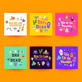 Dia los muertos postkarten. vektor-illustration von mexikanischen feiertags-gruß-karten.