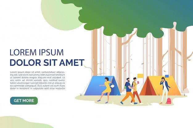 Dia-seite mit touristen, die auf dem campingplatz kommunizieren