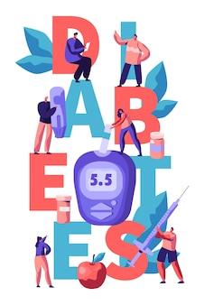 Diabetes-blutzuckerspiegel-test am digital glucometer typography banner. doktor, der zucker mit streifen-werkzeug an der blauen überwachungs-ausrüstungs-werbeplakat-flachen cartoon-vektor-illustration misst