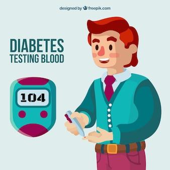 Diabetes, der blutzusammensetzung mit flachem design prüft