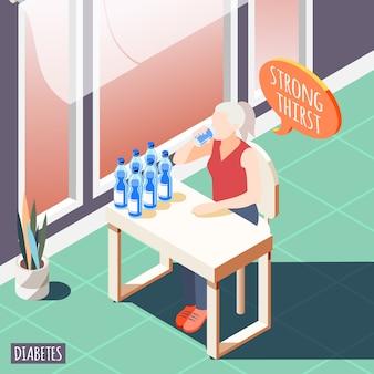 Diabetes isometrisch mit kranken frauen, die starken durst fühlen und wasservektorillustration trinken