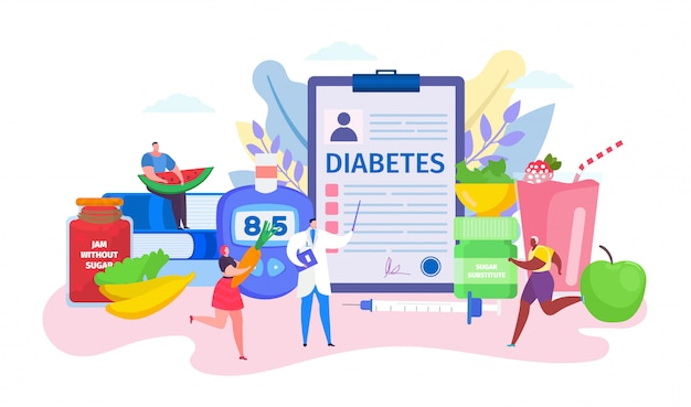 Diabetes-konzept, zeichentrickfilm-charakter, der winzige geduldige leute im gesunden lebensstil auf weiß berät