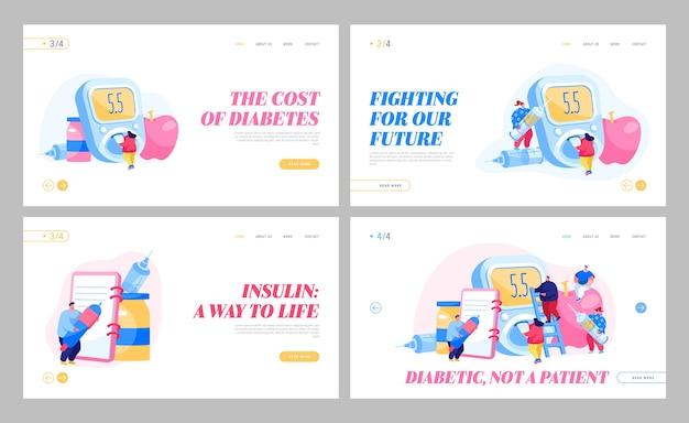 Diabetes-krankheit, diät-kontrolltherapie landing page template set