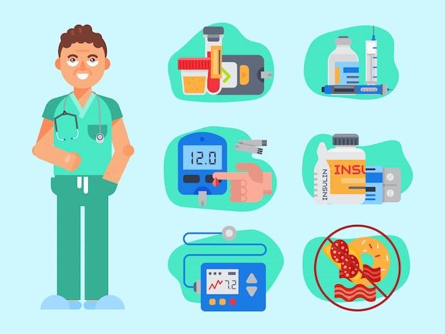 Diabetes mellitus pflege vektor-illustration. arzt im laborkittel spricht über die bedeutung des zucker- und insulinspiegels und ein gesundes leben für gesundheitsdiabetiker