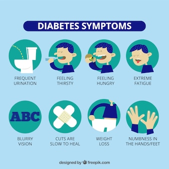Diabetes-symptome infographic in der flachen art