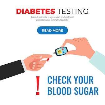 Diabetes-testinformationen zur überprüfung des blutzuckers mit flacher designillustration der webseite des glukosemeterverfahrens