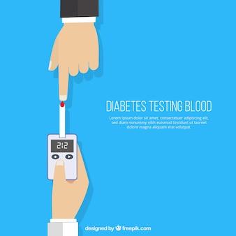 Diabetiker, die blut mit flachem design prüfen