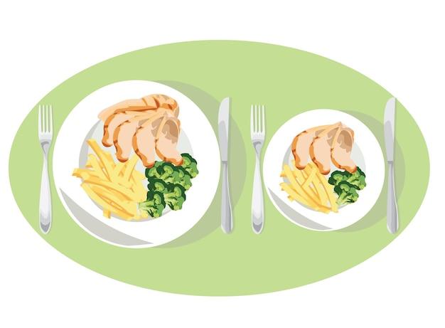 Diät-gewichtsverlustkonzept. kleinere teller zum abnehmen. diät-tipps: große platte vs. kleine platte.