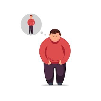 Diät, richtige ernährung, ernährungsplan. junger mann des flachen designs denkt, wie man gewicht verliert und dünn wird