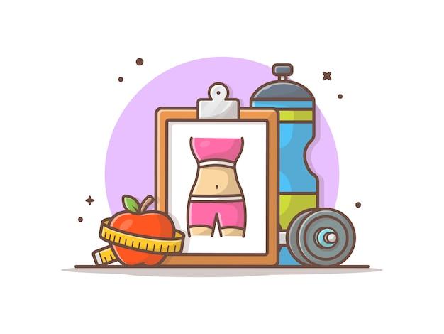 Diät-und turnhallen-ziel-ikonen-illustration