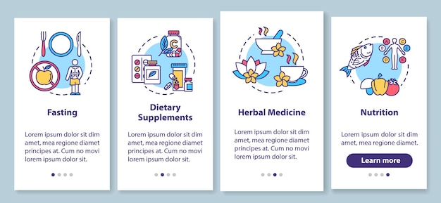 Diäten und kräuter onboarding mobiler app-seitenbildschirm mit konzepten. anleitung für gesunde ernährung und nahrungsergänzungsmittel in vier schritten. ui-vektorvorlage mit rgb-farbabbildungen