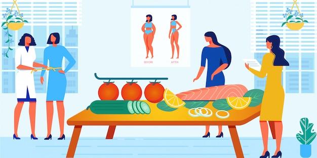 Diätkurs und gesunder lebensstil - frauenkurs, klasse