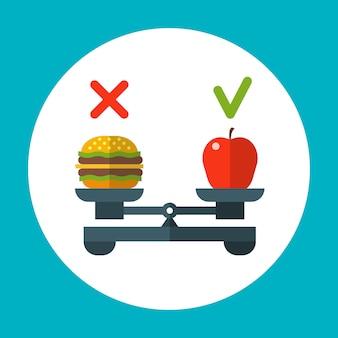 Diätlebensmittelbalance, gesundes vektorkonzept mit apfel und hamburger auf skalen