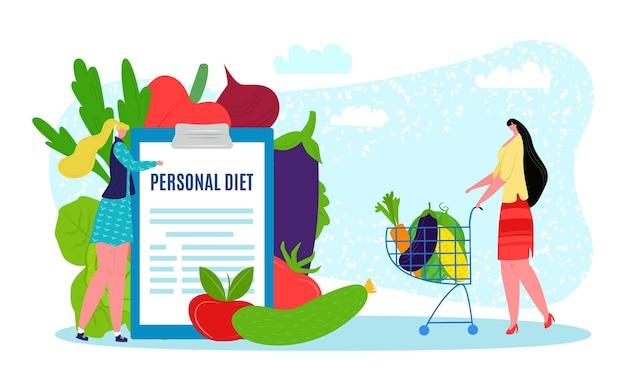 Diätplan mit gesunder mahlzeit vektor-illustration frau arzt charakter zeigen persönliche ernährung menü ...