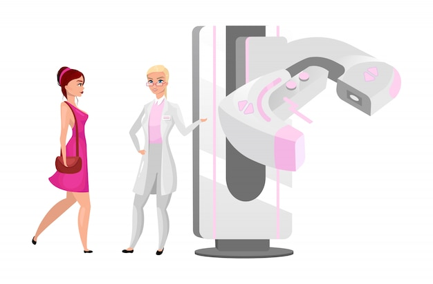 Diagnostische mammographieillustration. brustuntersuchungsverfahren für frauen. arzt mit modernem röntgengerät. röntgenverfahren. patientin mit mammologen-zeichentrickfiguren