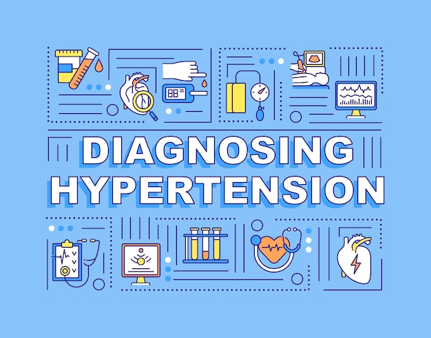 Diagnostizieren von hypertonie-wortkonzepten banner. überwachung des blutdrucks. infografiken mit linearen symbolen auf blauem hintergrund. isolierte kreative typografie. vektorumriss-farbillustration mit text