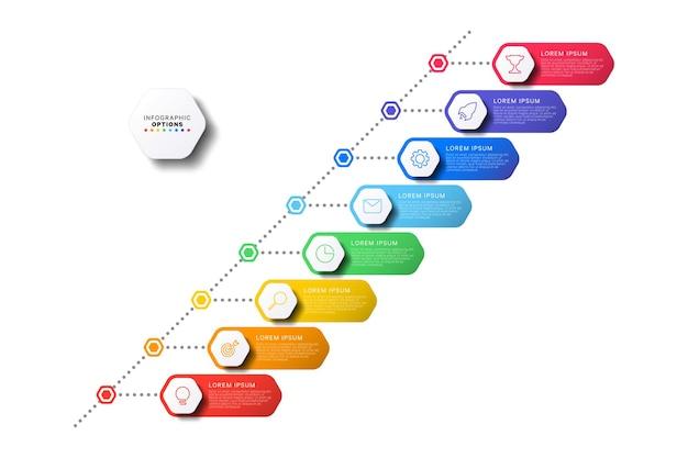 Diagonale timeline-infografik mit sechseckigen elementen auf weißem hintergrund moderner geschäftsprozess