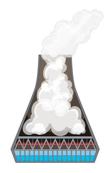 Diagramm, das rauch im kamin zeigt
