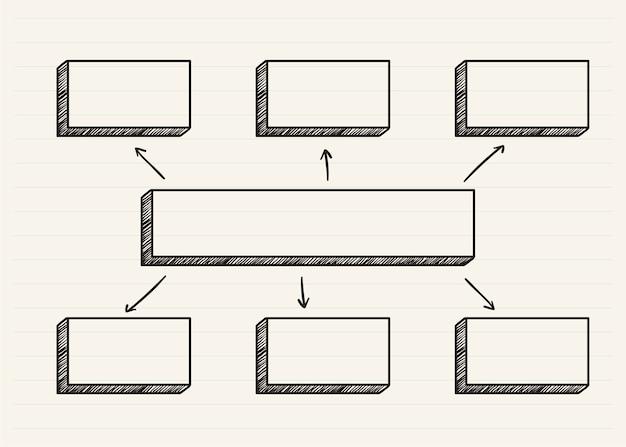 Diagramm kritzelte auf einem notizblock