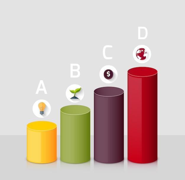 Diagramm mit 3d-grafik. geschäftsstrategie: idee, wachstum, monetarisierung, globalisierung