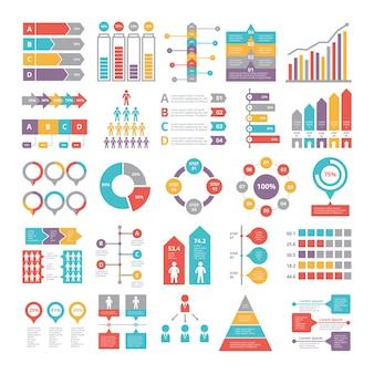 Diagramme, grafiken und andere verschiedene infografiken elemente für unternehmen