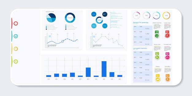 Diagramme und grafiken, analyse der geschäftsbuchhaltung, statistikkonzept. digitales marketing, geschäftsanalyse. datenwachstumsdiagramm. business-website moderne benutzeroberfläche, ux, kit, admin. vektor