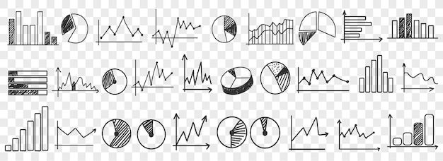 Diagrammgeschäft einstellen. doodle geschäftsdiagramme