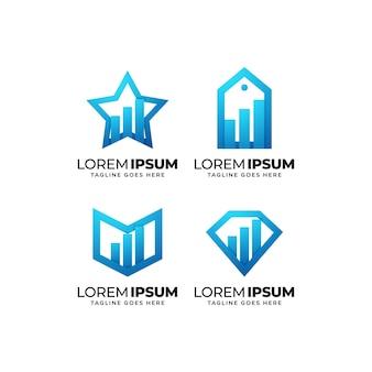 Diagrammstatistik-logo-design-set