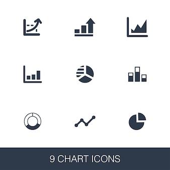 Diagrammsymbole eingestellt. glyphenzeichen im einfachen design. vorlage für diagrammsymbole. universelles stilsymbol, kann für web- und mobile benutzeroberflächen verwendet werden