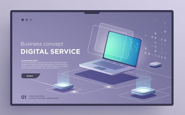 Diaheld-seite oder digitaltechnologie-banner für digitales service-geschäftskonzept isometrischer vektor