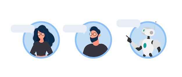 Dialogsymbole. unterstützen sie frau und mann. chatbot. symbole für apps, websites und banner. isoliert.