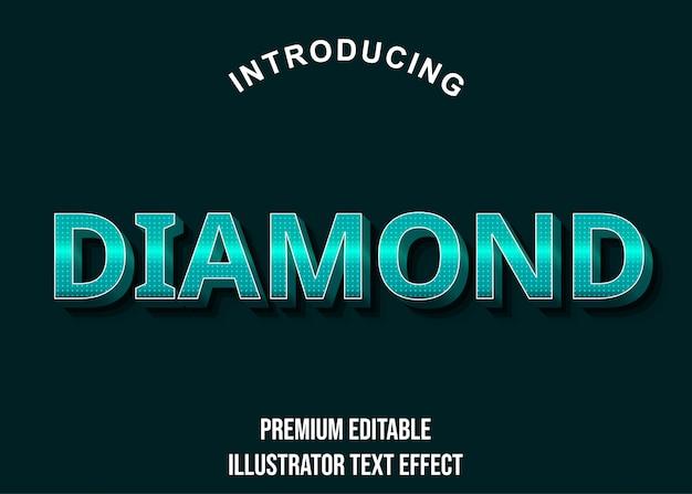 Diamant - 3d türkis-texteffektstil Premium Vektoren