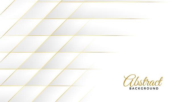 Diamant formt weiße und goldene linien hintergrunddesign