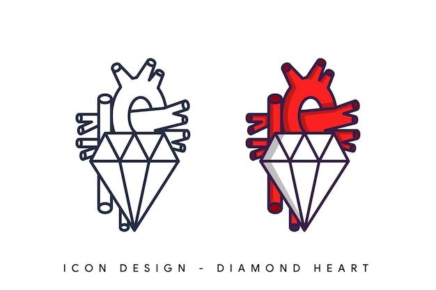 Diamant herz logo design vorlage isoliert. doodle-stil.