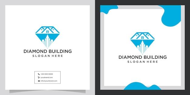 Diamant-logo-design mit gebäudekonzept