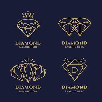 Diamant-logo-sammlung Premium Vektoren