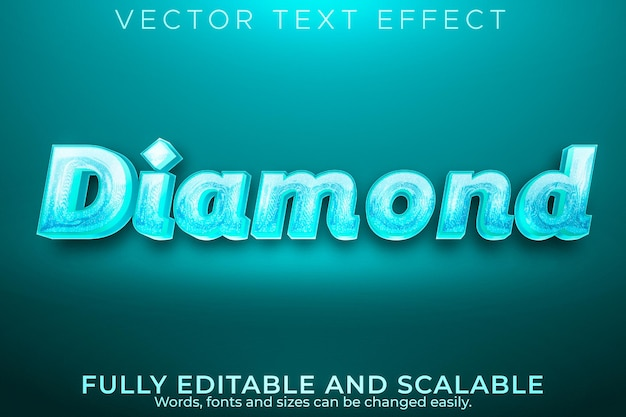 Diamant-luxus-texteffekt, bearbeitbarer eleganter und glänzender textstil