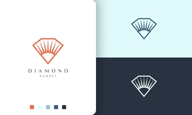 Diamant- oder sonnenlogo im modernen stil