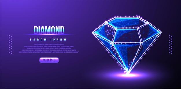 Diamant, schmuck, edelstein, luxus und reichhaltiges low-poly-drahtmodell