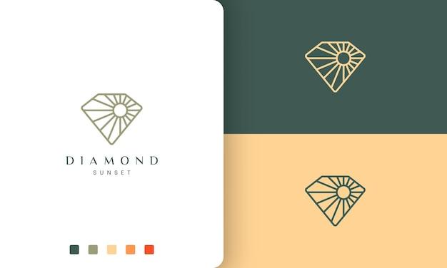 Diamant-sonnenlogo in monolinie und modernem stil