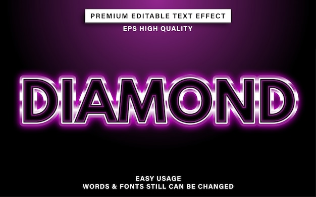 Diamant-texteffekt Premium Vektoren